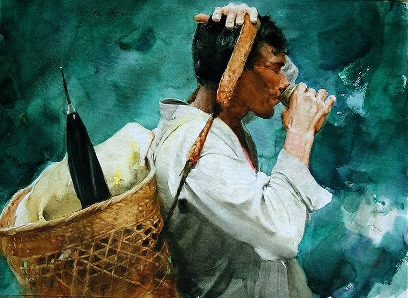 Живая акварель Guan Weixing