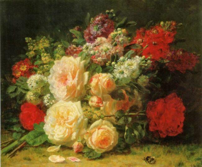 букеты цветов в живописи Жан Батиста Роби