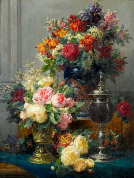 букеты уветов в живописи Jean-Baptiste Robie