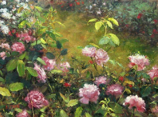 Нежные розы в живописи