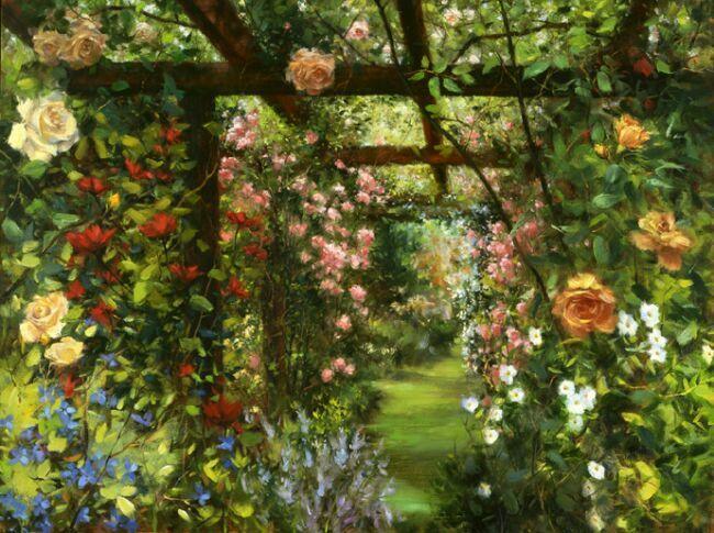 сады розовые в живописи