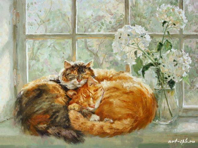 Коты  в живописи Марии Павловой