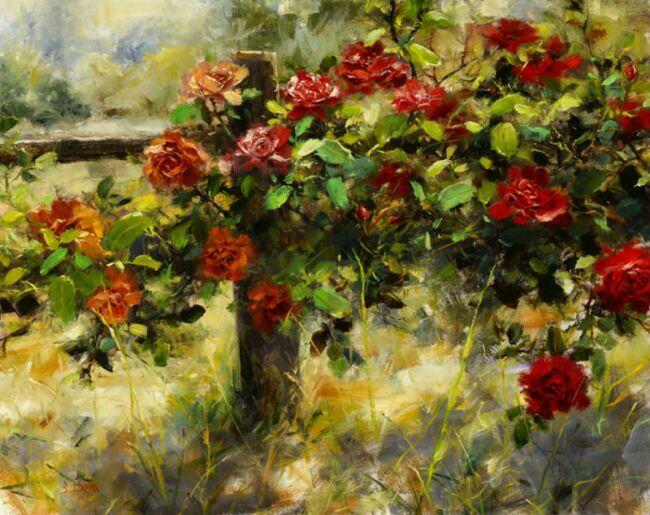 Розовые сады в живописи