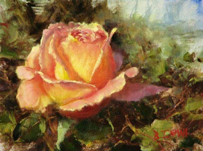 Желтая роза в живописи