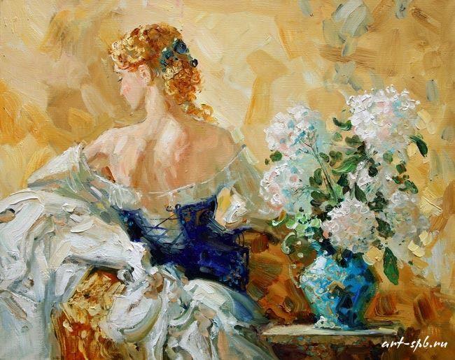 Женские образы и цветы в живописи Марии Павловой