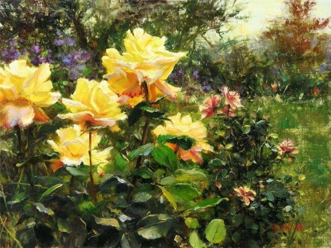 Желтые розы в живописи