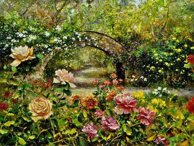 Сады из роз в живописи