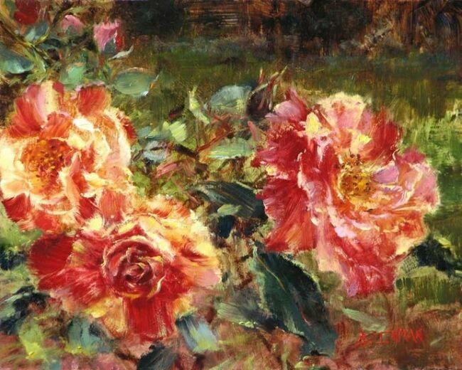 Шикарные розы в живописи