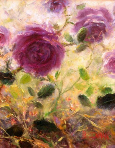 Сиреневые розы в живописи