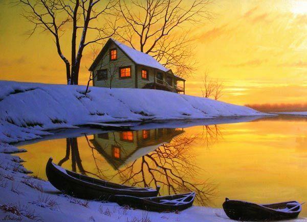 Картина зимний пейзаж Алексея Бутырского