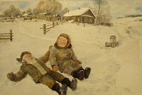 старики зимой на картине