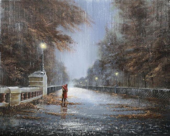 барабанит по улице дождь