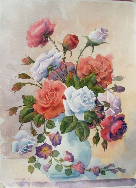 акварельные цветы  Reza Badrossama