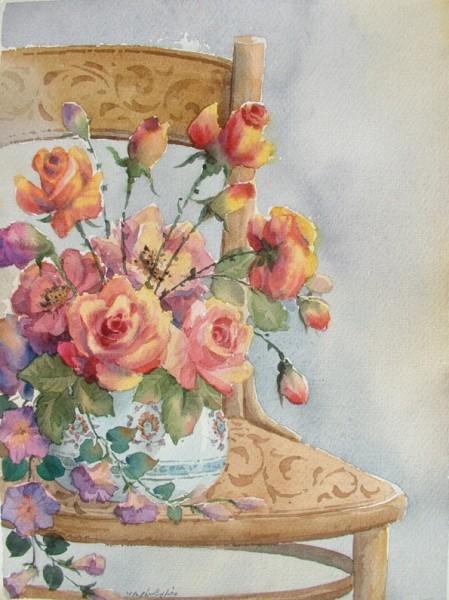 акварельные цветы Reza Badrossama.