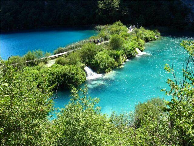 Плитвицкие озера в Хорватии вид сверху