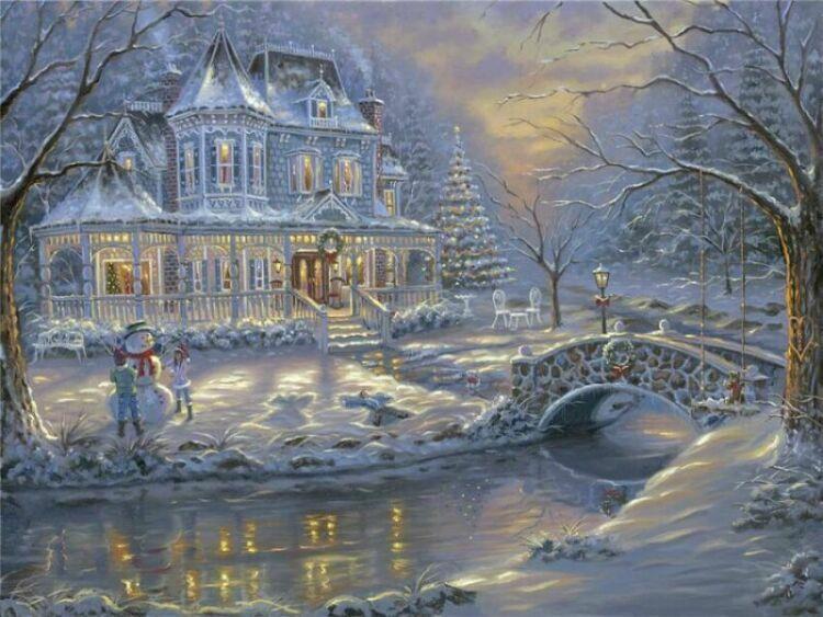 Новогодние пейзажи современной живописи