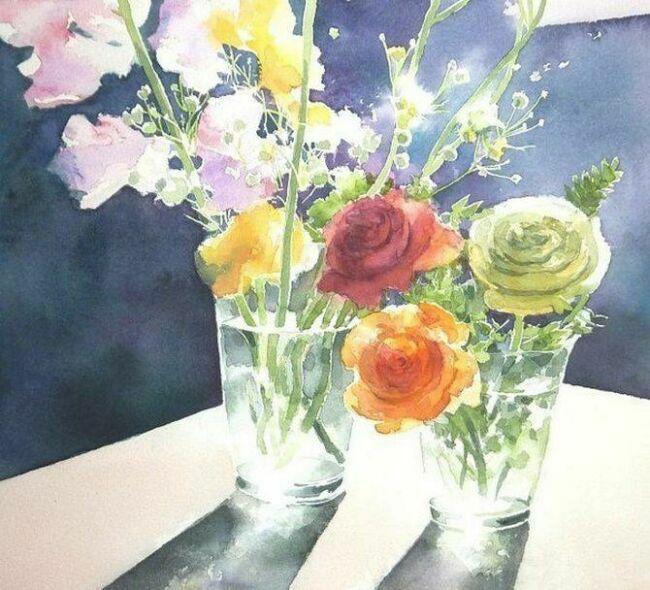 акварельные цветы в живописи