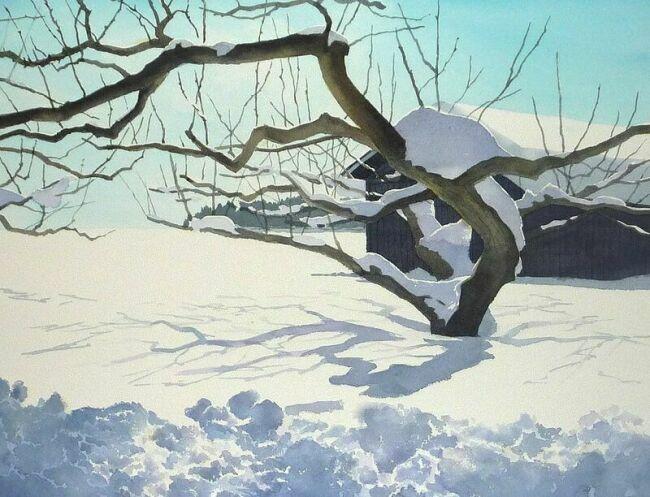 японские картины акварелью