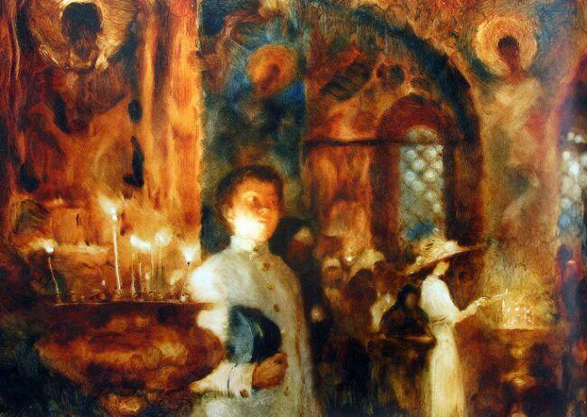 Александр Петров  и кадр в церкви из его мультфильма