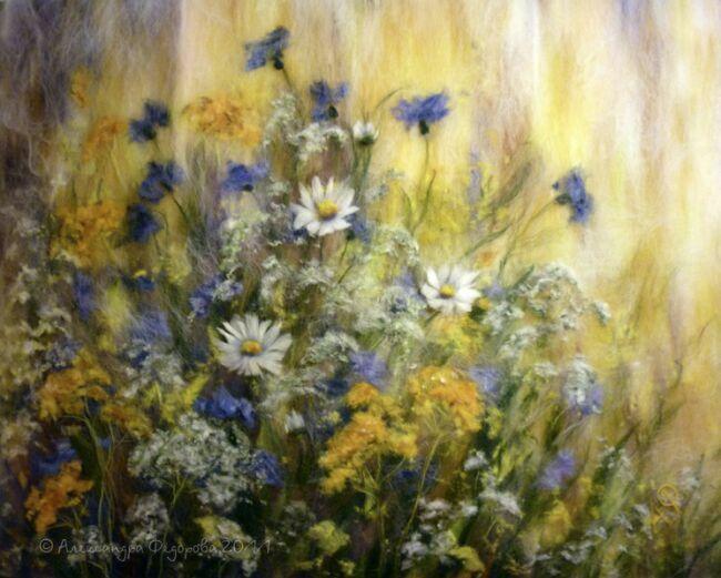 Луговые травы на картинах из шерсти