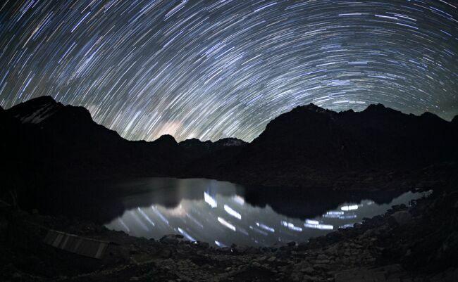 Непал горы Гималаи ночью