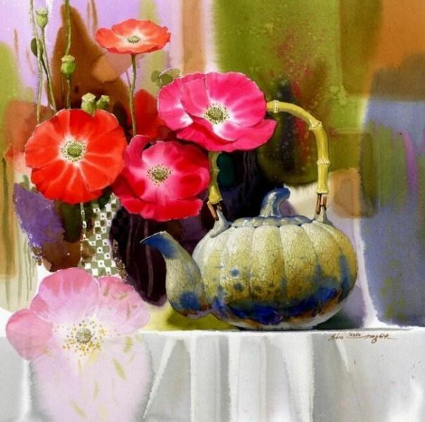 Акварельные натюрморты с цветами