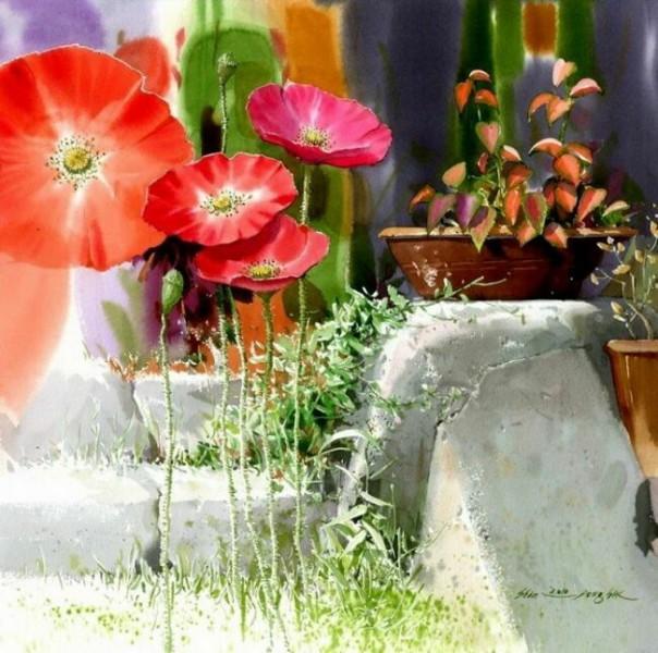 натюрморт цветами акварелью