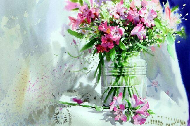 картины цветов акварелью