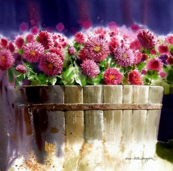 Натюрморт акварелью с цветами