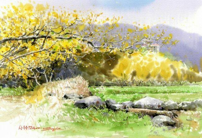Натюрморт  с цветами, акварельный пейзаж Shin Jong Sik