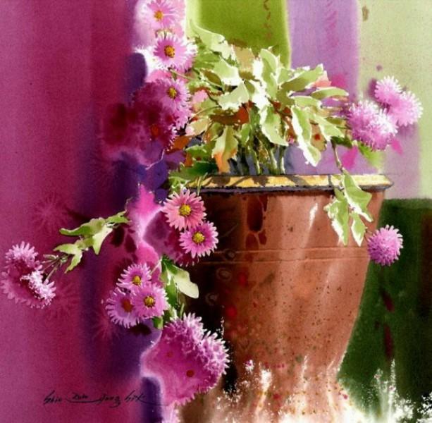 Натюрморт вазы с цветами акварелью