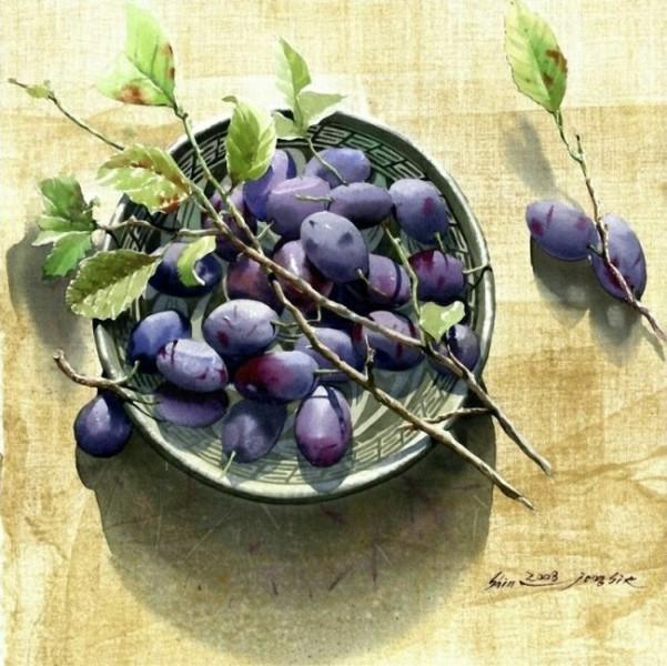Натюрморт с фруктами  акварелью