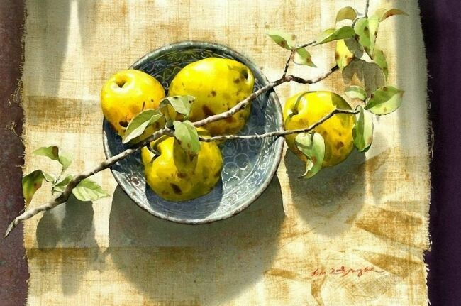 Живопись акварелью натюрморт с фруктами
