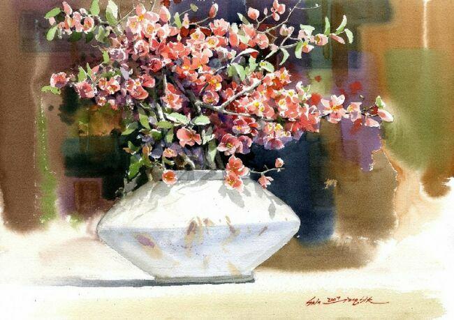 акварель цветы живопись