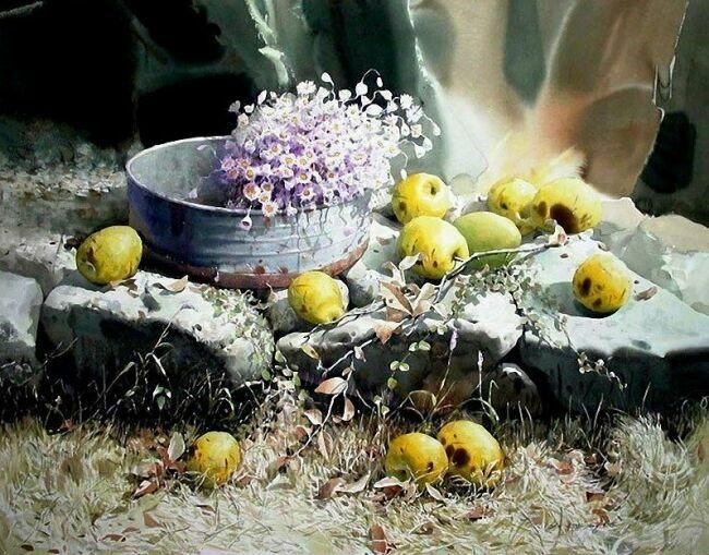натюрморт акварелью с фруктами