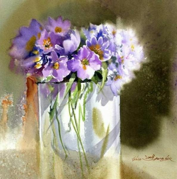 акварельная живопись цветы