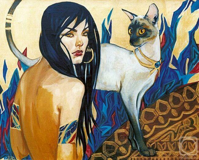 Картина женщина кошка