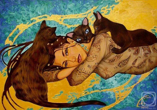Женщины и кошки в живописи