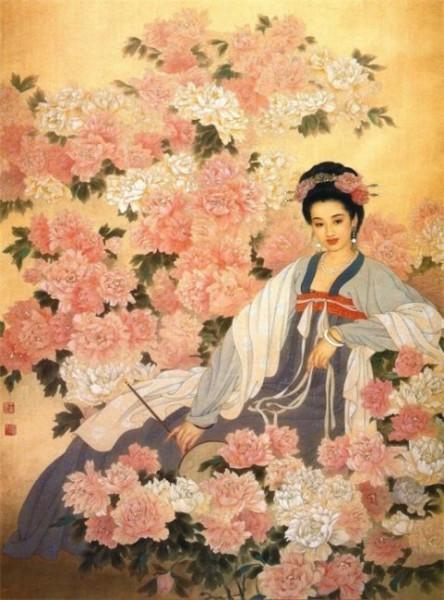 картина китайская пионы