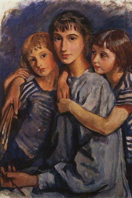 Автопортрет Зинаиды Серебряковой с дочерьми. 1921
