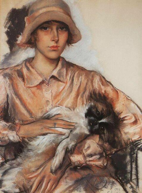 Зинаида Серебрякова. Портрет дамы с собачкой,1926