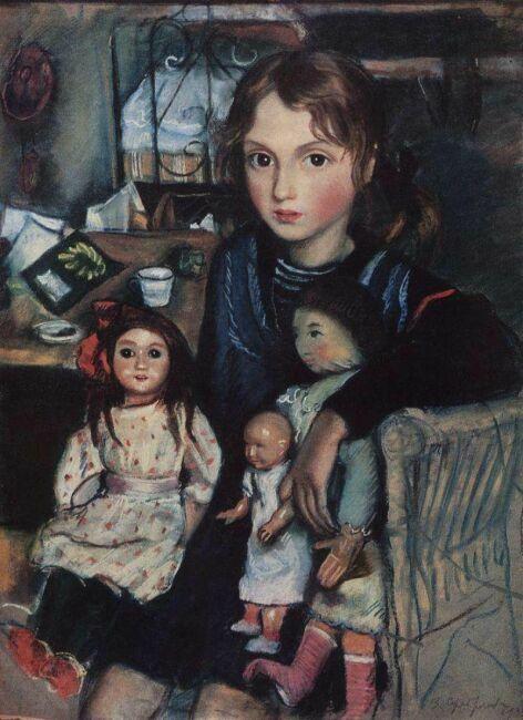 Катя с куклами - картина З.Серебряковой 1923