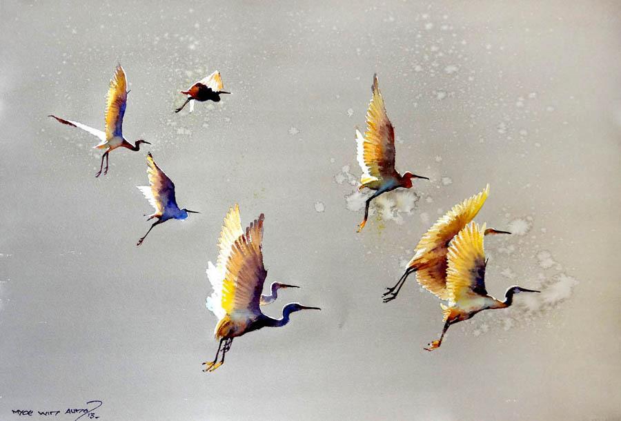 Myoe Win Aung (с) птицы в живописи