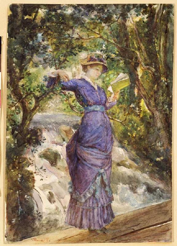 Marie Bashkirtseff_14 Девушка, читающая на водопаде (около 1882г)